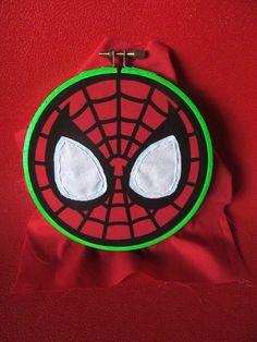 hand embroidery by @Koko Kreepies  Spiderman Hoop, comic book hero, comic book art