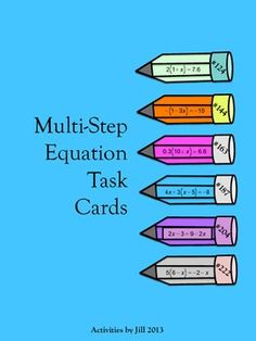 120 task cards will provide your students with lots of practice and make differentiation easy! These cards are separated into six categories with 20 equations in each. This will allow you and your students to focus on specific types of equations. Numbering begins at #121 because it picks up where Two Step Equation Task Cards leave off. CCSS 7.EE CCSS 8.EE CCSS A-REI