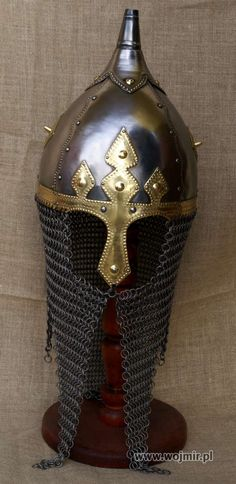 Great Polish helmet, 10th century. Interesting method of hooking the aventail to nasal.