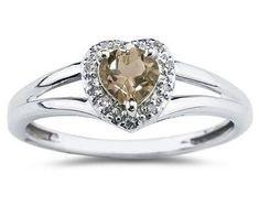 ApplesofGold.com - Heart Shaped Smokey Quartz and Diamond Ring, 10K White Gold