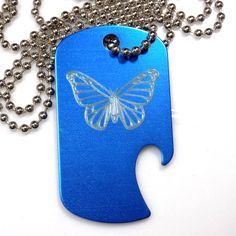 "Butterfly Blue Pendant With 30"" Chain Dog Tag Aluminum Bottle Opener EDG-0302"