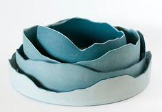 Maude Blais - Diademe Marin 3 Round bottom of mason stained porcelain with jagged edge.