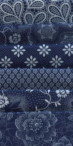 Indigo Blues could be mixed for seating surfaces on upholstery pieces. I LOVE indigo. Blue And White Fabric, White Fabrics, Blue Fabric, Le Grand Bleu, Bleu Indigo, Azul Indigo, Electric Quilt, Love Blue, Fabulous Fabrics