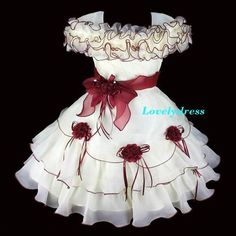 NEW Flower Girl Wedding Pageant Party Princess Holiday Dress Set Wine SZ 3-7 Q11