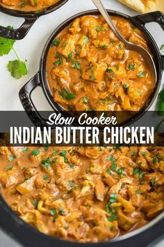This rich, creamy Slow Cooker Butter Chicken has the taste of authentic Indian b., rich, creamy Slow Cooker Butter Chicken has the taste of authentic Indian butter chicken, made easy in in the crock pot and healthy with everyday. Butter Chicken Slow Cooker, Chicken Cooker, Butter Chicken Recipe Crockpot, Slow Cook Chicken Recipes, Crock Pot Chicken, Crockpot Recipes For Two, Chicken Cauliflower, Chicken Recipes In Crock Pot, Gastronomia