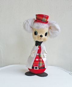 Vintage Fifties Christmas Santa Claus Mouse Flocked Figurine Doll Holiday Decor White with Red Plaid Clothes and Hat