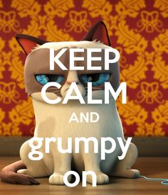 KEEP CALM AND GRUMPY ON. Another original poster design created with the Keep Calm-o-matic. Buy this design or create your own original Keep Calm design now. Keep Calm Posters, Keep Calm Quotes, Calming Cat, Keep Calm Signs, Quotes About Everything, Stay Calm, Keep Calm And Love, Motivational Posters, Grumpy Cat
