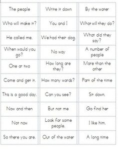 Fry Word Phrases Lists 1-6 Ready to Print on Sticker Labels!  Super Easy to make flashcards or games!