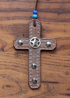 Leather Cross with Silver Ranger Star by KellysLeatherDesign on Etsy Headstall, Medium Brown, Leather Design, Ranger, Belly Button Rings, Swarovski Crystals, Handmade Items, My Etsy Shop, Ear