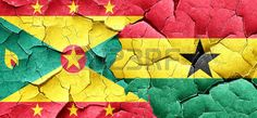 Grenada flag with Ghana flag on a grunge cracked wall