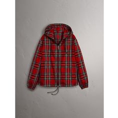 Burberry Tartan Cotton Hooded Jacket (€1.140) ❤ liked on Polyvore featuring men's fashion, men's clothing, men's outerwear, men's jackets, mens tartan jacket, mens plaid jacket, mens hooded jackets, mens real leather jackets and mens leather jackets