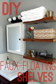 Cool easy design but they won't hold very much weight! DIY Floating Shelves with flipped L-brackets Cool easy design but they won't hold very much weight! DIY Floating Shelves with flipped L-brackets Cool Easy Designs, Floating Shelves Bathroom, Cheap Floating Shelves, Bathroom Small, Home Decoracion, Do It Yourself Inspiration, Diy Regal, Diy Casa, My New Room