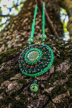 Green Bead Necklace Bead Embroidery by handmadegiftsbyLaila