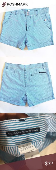 Andrew Christian blue and white striped shorts 30 These shorts are in perfect condition and show signs of wear. Waist 30 inches, length 14 inches and inseam 4 Andrew Christian Shorts