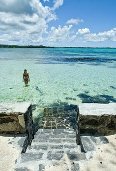 steps into the ocean.