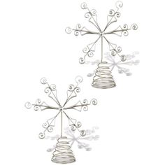 "Foreside Home & Garden Large Silver Snowflake 13.5"""" Tree Topper - Set... ($13) ❤ liked on Polyvore featuring home, home decor, holiday decorations, no color, silver home accessories, silver christmas tree topper, silver tree topper, snowflake tree topper and silver home decor"