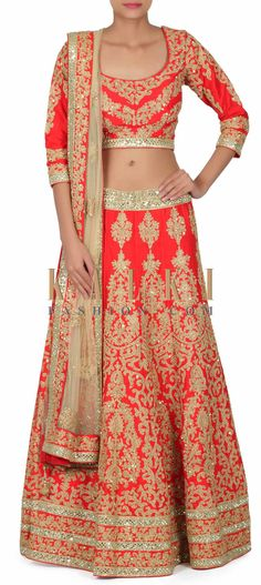 Buy this Red lehenga adorn in zari embroidery with sequin only on Kalki