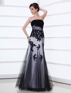 Wishesbridal Black Appliques Strapless Floor Length Trumpet Mermaid Evening Prom Dress