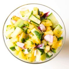 Our Pineapple, Cucumber and Mint Relish the perfect topping for grilled meats and steamed veggies. Add a jalapeno to turn into a spicy salsa! Pineapple Relish Recipe, Cooked Pineapple, Pineapple Salad, Quick Healthy Meals, Healthy Food Blogs, Good Healthy Recipes, Unique Recipes, Healthy Foods, Healthy Eating