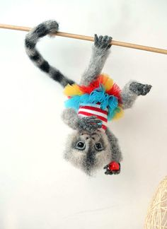 Needle felted marmoset monkey. BJD from wool. Animal portrait. Collectible toy. OOAK doll. Funny gift. - pinned by pin4etsy.com