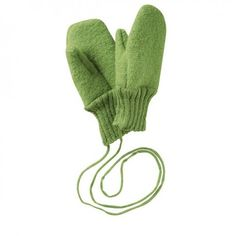 Wool mittens green, Disana