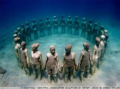 Would love to scuba dive here.  The sixty-five sculptures, covering an area of 800sq metres, are sited in the clear shallow waters of Moilinere bay in Grenada, West Indies.    Read more: http://www.beforeiforget.co.uk/2008/underwater-love/#ixzz1qXhxIbwG