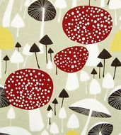scandinavian fabric vtg retro mushroom DIY cushion curtains 50s 60s Almedahls