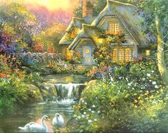 "Kinkade Summer Cottage Cross Stitch Pattern***L@@K***  YOUR FINISHED PATTERN SIZE. 360 Stitches x 288 Stitches 20.0"" X 16.0"" ON (18 COUNT) AIDA CLOTH. ~~ I SEND WORLD-WIDE ~~Free"