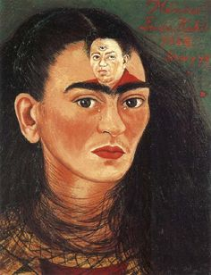frida kahlo. diego, her husband portrayed in the image