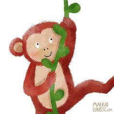 Close up of little monkey  It will be part of bigger illustration  #kidlit #childrenbookillustration #characterdesign