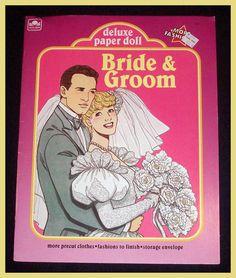 Rare 1990 VINTAGE Golden DELUXE BRIDE & GROOM Fashion Uncut PAPER DOLL Set | eBay