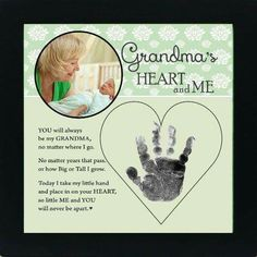 Grandma Quotes Discover Grandma Handprint Frame from Grandchild Personalized Grandma Gift for Mothers Day! She will love their adorable little handprints Baby Crafts, Crafts For Kids, Baby Handprint Crafts, Newborn Crafts, Family Crafts, Summer Crafts, Toddler Crafts, Fun Crafts, Craft Gifts