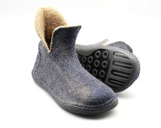 Handmade felted wool unisex men women ankle boots lovers winter shoes gift
