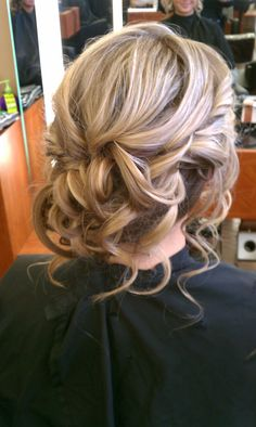 Prom, Homecoming, Wedding, Bridal, Bridesmaid, Low, Hair, Upstyle, Updo, Blonde Hair, Curls, Romantic, Loose,