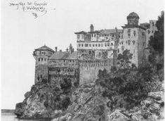 Μονή Γρηγορίου στο Άγιο Όρος, 1923. Byzantine Art, Notre Dame, Louvre, Visual Arts, Cyprus, Fine Art
