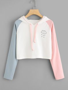 Color Block Women Crop Hoodie Sweatshirts Teens Pullover Streetwear Spring Autumn Long Sleeve Hoody Shirts Blouse 90117 WH S Teen Fashion Outfits, Casual Outfits, Girl Outfits, Fashion Women, Fashion Styles, Casual Dresses, Women's Fashion, Fashion Design, Lady Rockers