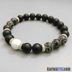 Yoga Bracelets. Men Women. Beaded Prayer Mantra Spiritual Mala. Black Jade onyx tridacna.