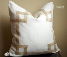 "Greek Key Fretwork Ivory Linen with Jute- 20"" Pillow Cover. $80.00, via Etsy."