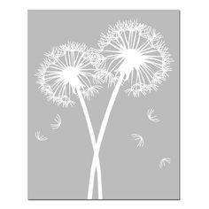 This is an 11x14 original print featuring two dandelion silhouettes. Its elegant, fun, and whimsical. Customize in the colors of your choice.    This
