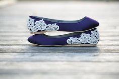 Bridal Shoes - Purple Wedding Shoes/Purple Wedding Flats with Ivory Lace. US Size 10.