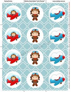 """Little Pilot Printable Party Circles Mother Duck Said: """"Lets Party!"""": Little Pilot Party / Little Aviator Party / Airplane Party"""