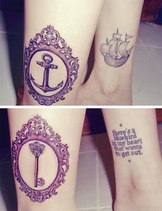 Old-time sailor tattoos. Not huge on the boat, but the quote's fun.