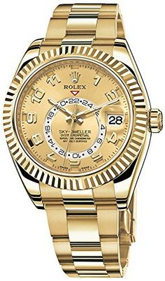 Men's Wrist Watches - Rolex Sky Dweller Champagne Dial GMT Yellow Gold Mens Watch >>> To view further for this item, visit the image link. Best Watches For Men, Luxury Watches For Men, Cool Watches, Wrist Watches, Latest Watches, Dream Watches, Gold Rolex, Patek Philippe, Luxury Watches