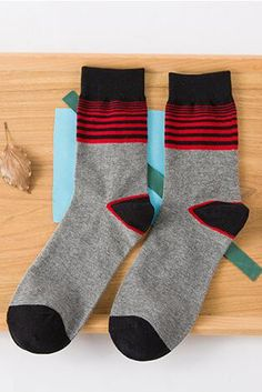 Men's  Striped Pattern Combed Cotton Socks