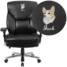 Flash Furniture GO-2085-LEA-EMB-GG Embroidered HERCULES Series 24/7 Intensive Use, Multi-Shift, Big & Tall 400 lb. Capacity Black Leather Executive Swivel Chair with Lumbar Support Knob