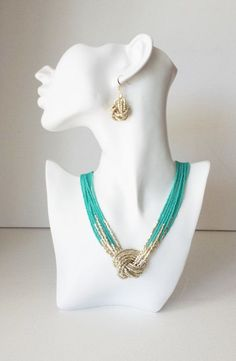 Turquoise and gold necklace seed bead by StephanieMartinCo on Etsy