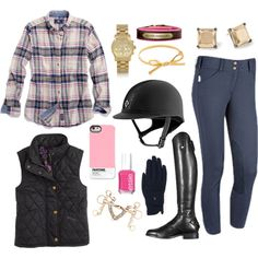 Flannel - Polyvore  (I could SO do this look with my new ombre blue F.I.T.S. 'Kate' breeches…)