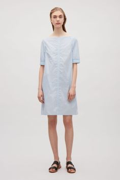 COS image 1 of Dress with elastic sleeves in Light Blue
