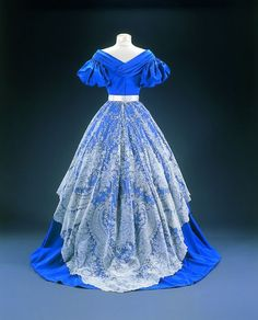 Evening dress, with Brussels lace overskirt. 1865-68. | In the Swan's Shadow