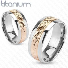 6mm Strip Rose Gold IP Solid Titanium Band Ring Wedding Band Women's Ring